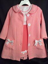 NWT Bonnie Jean Pea Coat & Sundress Dress 24m 2pc Set Coral Polka Dot $54 NEW