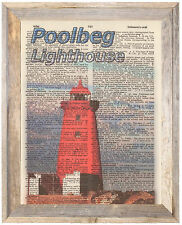 Poolbeg Lighthouse Ireland Altered Art Print Upcycled Vintage Dictionary Page