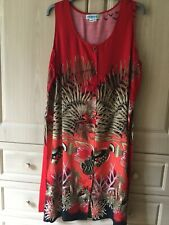 Red Dress with Tropical Fish/Coral/Fern Pattern - Size Large