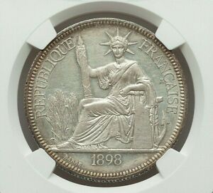 1898-A FRENCH INDO-CHINE SILVER PIASTRE NGC UNC-DETAILS (OBVERSE CLEANED)
