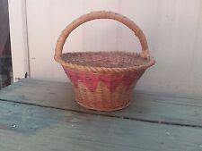 "Vintage Woven Wicker Easter Bonnet Basket 7"" Tall Holiday Primitive"