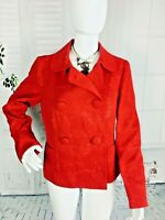 Women's Talbots Jacquard RED Blazer Crop Jacket Short career Small 2 4 New NWT