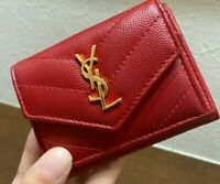 Auth SAINT LAURENT YSL Monogram Short Trifold Wallet Red Coin purse Card case