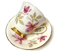 Vintage 1950s Old Royal Bone China England Tea Cup And Saucer Pink Yellow Floral