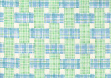 3.75 Waverly Fabric Pretty Plaid Blue Green Ecru  Cotton  Drapery Upholstery