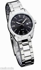 Casio LTP1302D-1A1 Ladies 50M Modern Stainless Steel Dress Watch Black Dial NEW