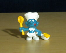 Smurfs Cook Greedy Smurf Chef Spoon & Pot Rare Vintage Toy Figure Peyo Lot 20073