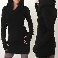 Mode Femme Sweat Capuche Mini Robe Pull-Over Tricot Pull Tunique Moulant En Vrac