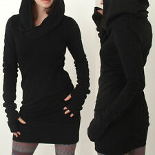 Black Women's Hoodies Hooded Bodycon Long Sleeve Sweatshirt Mini Dress Sweater