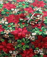 "WINTER GARDEN 4 Pack of Napkins size 17x17"" Sq Poinsettia Holly Christmas NIP"