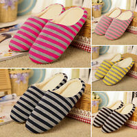 Men Women Winter House Striped Indoor Anti-slip Shoes Unisex Soft Warm Slippers