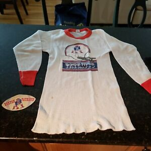 vintage kids size large New England Patriots thermal shirt & Boston decal