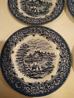 "Set 4 Royal Art Staffordshire 7"" Bread Plates Blue"