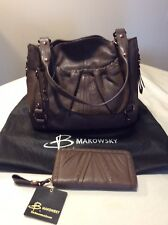 B. Makowsky Tribeca Leather Bag with Matching Wallet NEW with Tags