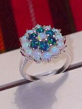 Sterling Silver Black & Fiery Opal Large Cluster Ring. Vintage Design O