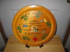 """Vintage 1954 Woodcroftery Hand Painted Wooden Kitchen Plaque Made in America 12"""""""