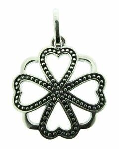 Elements silver oxidised flower pendant