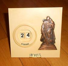 Vintage USSR Stand Desk Plastic Calendar metal Soviet Soldier Monument souvenir
