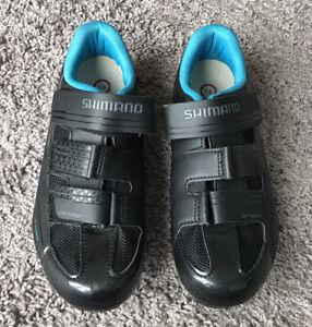 Shimano RP2W Road Cycling Shoes Black Blue Women's US Size 7.8 EU Size 40