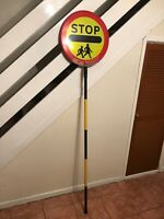 Genuine School STOP Sign Lollipop Lady Man Children Crossing Road Stick Metal