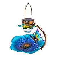Decorative Bird Bath Feeder Garden Decor Outdoor Hanging Solar Led Light