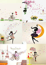 Lovely Flower Girl Butterfly Flower Fairy Wall Stickers for Room Decoration