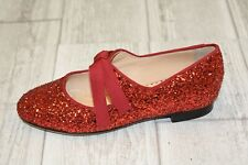 Charlotte Olympia Incy Olivia Glitter Flats, Little Girl's Size 13, Red NEW