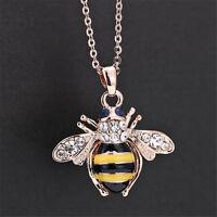 Unique Women Honey Bumblebee Bee Crystal Pendant Chain Necklace HF