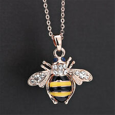 Chic Cute Women Ladies Honey Bumblebee Bee Crystal Pendant Chain Necklace UW