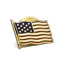 Solid 14K Yellow Gold & Enamel AMERICAN FLAG USA Lapel Pin / Tie Tack - 1.2g