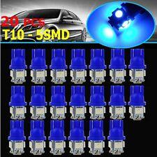 20X Car Blue T10 LED 5smd Side Wedge Light Bulb W5W 501 192 158 194 168 2825 906