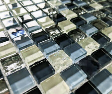 NEW BLUE & SILVER CRACKLE GLASS & BLUE GEM STONE SMALL SQUARES MOSAIC TILES 8MM