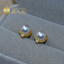 AAA++ 8.5-9mm Real natural Akoya white round diamond pearl earrings 18K Gold
