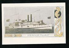 Shipping USA Fall River Line Steamer PILGRIM Art Nouveau c1900s PPC