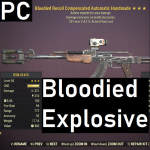 [PC] HACKED Bloodied Explosive Handmade Rifle 25% less VATS Cost Fallout 76 BE25