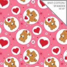 Care Bears Pink Tenderheart Bear Stretch Knit Fabric Suit T Shirts 1/2 YARD