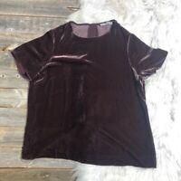 VINCE Top Large Velvet Silk Purple Short Sleeve