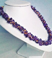 Amethyst Gemstone Chip Beads + Red & Frosted Yellow Seed Beads Kumihimo Necklace