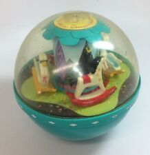 Vintage Fisher Price Roly Poly Chime Ball #165 Teal Baby Toy 2