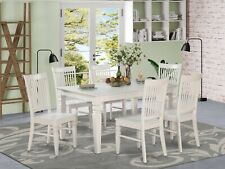 7pc set rectangular Weston dining table with 6 wood seat chairs linen off-white