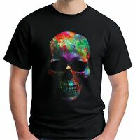 Velocitee Mens Vest Colourful Splat Face Skull Festival Rave Party A21569