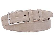 Italian Leather Belt  - Real Suede light beige 38 (avail 34-46) 95 cm