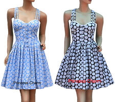 50s Vintage Retro Summer Day Dress Blue/Black White Daisy Print Size 8 10 12 New