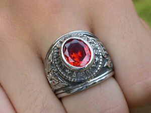 Stainless Steel United States Army Military January Garnet CZ Men Ring Size 7-15