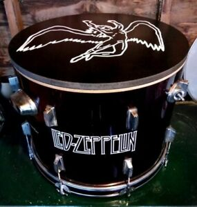 LED ZEPPELIN Upcycled Bass Drum Coffee Table with internal storage