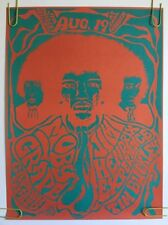 Vintage Poster Jimi Hendrix At Earl Warren Moby Grape 2nd Printing 1960's Pin-up