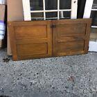 "WOW pair vintage chestnut sliding paneled butler pantry doors 24.25"" x 24 5/8"""