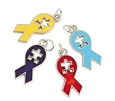 36 Enamel Jewelry Charms Puzzle Ribbon Autism Awareness Craft  Fundraiser Event