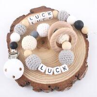 Crochet Wood Bead Beech Ring Baby Teething Personalised Pacifier Clips Bracelet