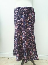 Tu Ladies Size 10 Blue Pink Mauve Silk Floral Skirt Print Fashion Wear